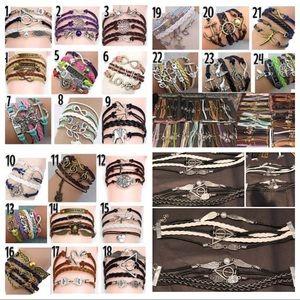 Jewelry - Braided bracelets, layered leather bracelet bundle